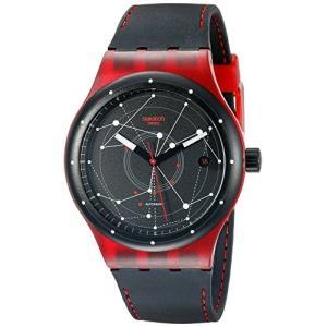 当店1年保証 スウォッチSwatch Unisex SUTR400 Sistem Red Analog Display Automatic Self Wind Black Watch|planetdream