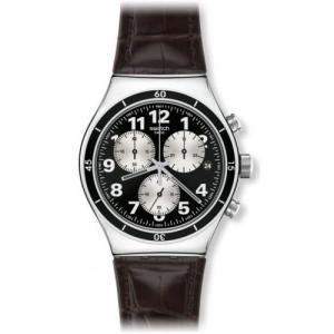 当店1年保証 スウォッチSwatch Irony Browned Chronograph Black Dial Leather Strap Mens Watch YVS400|planetdream