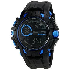当店1年保証 アーミトロンArmitron Sport Men's 40/8335BLU Blue Accented Digital Chronograph Black Resin Strap Watch|planetdream