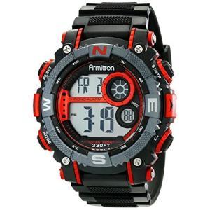 当店1年保証 アーミトロンArmitron Sport Men's 40/8284RED Large Metallic Red Accented Black Resin Strap Chronograph Dig|planetdream