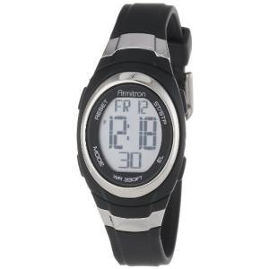 当店1年保証 アーミトロンArmitron Sport Unisex 45/7034BLK Stainless Steel Accented Black Resin Strap Chronograph Digit|planetdream