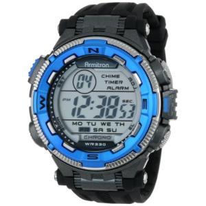 当店1年保証 アーミトロンArmitron Sport Men's 40/8301BLU Blue and Silver-Tone Accented Black Resin Strap Chronograph D|planetdream