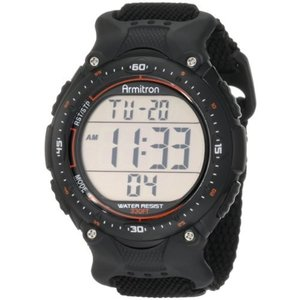 当店1年保証 アーミトロンArmitron Sport Men's 408159BLK Chronograph Black Strap Digital Display Watch|planetdream