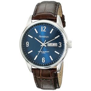 当店1年保証 アーミトロンArmitron Men's 20/5048NVSVBN Day/Date Function Brown Croco-Grain Leather Strap Watch|planetdream