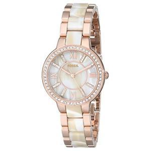 当店1年保証 フォッシルFossil Women's Virginia Quartz Stainless Steel Horn Acetate Dress Watch, Rose Gold (Model: ES371|planetdream