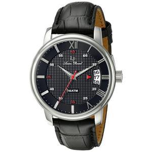 当店1年保証 ルシアンピカールLucien Piccard Men's LP-40019-01 Amici Stainless Steel Watch with Black Leather Band planetdream