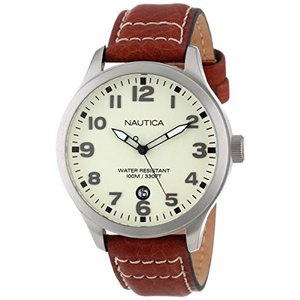 当店1年保証 ノーティカNautica Men's N09560G BFD 101 Stainless Steel Watch with Brown Leather Band|planetdream
