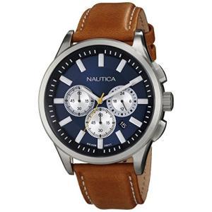 当店1年保証 ノーティカNautica Men's N16695G NCT 17 Brushed Stainless Steel Watch with Brown Band|planetdream