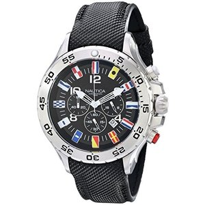 当店1年保証 ノーティカNautica Men's N16553G Stainless Steel Watch with Black Band|planetdream