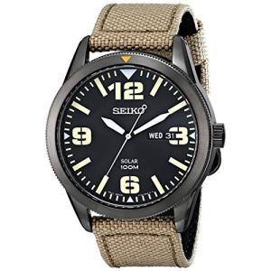 当店1年保証 セイコーSeiko Men's SNE331 Sport Solar Black Stainless Steel Watch with Beige Nylon Band planetdream