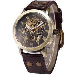 【当店1年保証】AMPM24 スチームパンク メンズ腕時計 自動巻き ブロンズ&ブラウン スケルトン ケースサイズ43mm|planetdream