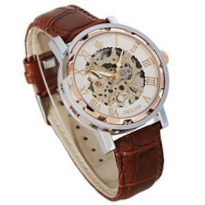 当店1年保証 スチームパンクGuTe Steampunk Bling Skeleton Mechanical Hand-wind Wristwatch Silver Rose-gold Case|planetdream