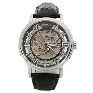 当店1年保証 スチームパンクSEWOR Men's Mechanical Skeleton Transparent Vintage Style Leather Wrist Watch (Black)|planetdream