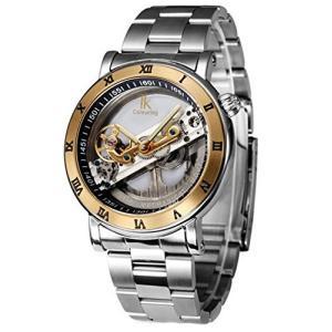 当店1年保証 スチームパンクGuTe Luxury Steampunk See Through Mechanical Wristwatch Self-wind Golden Bezel Roman Numer|planetdream