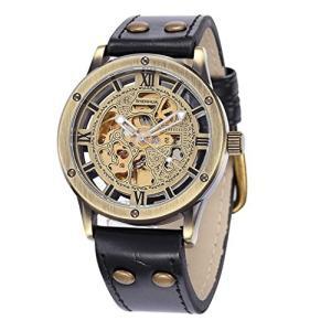 当店1年保証 スチームパンクShoppeWatch Mens Automatic Mechanical Watch Steampunk Skeleton Dial Leather Band AMW-161|planetdream