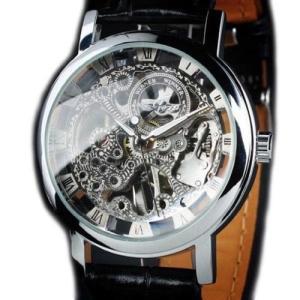 当店1年保証 スチームパンクSTEAMPUNK New Mens Swiss Design Men's Silver Skeleton Man's Mechanical Watch|planetdream
