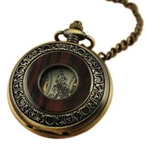 当店1年保証 スチームパンクVIGOROSO Men's Hand-Wind Mechanical Pocket Watch Vintage Steampunk Wood Grain Hollow Desig|planetdream