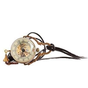当店1年保証 スチームパンクLYMFHCH Steampunk Glass Ball Transparent Skeleton Bronze Mechanical Pocket Watch Fob with|planetdream