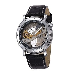 当店1年保証 スチームパンクGute Silver Tone Steampunk Wristwatch Unisex Automatic Self-wind Mechanical Watch See Thro|planetdream