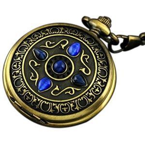 当店1年保証 スチームパンクVIGOROSO Men's Vintage Noble Bronze Blue Stone Gold Skeleton Steampunk Mechanical Pocket W|planetdream