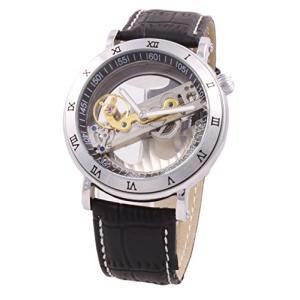 当店1年保証 スチームパンクShoppeWatch Mens Mechanical Watch Steampunk Skeleton Dial Black Leather Band Automatic Wac|planetdream