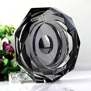 灰皿Amlong Crystal Octagon Black Large Crystal Ashtray 6 Inch X 6 Inch (150mm X 150mm) for Cigarettes or Cigars with Gift Box|planetdream
