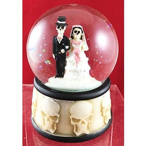 スノーグローブLove Never Dies Skeleton Wedding Couple Small Water Globe Figurine Day Of The Dead Wedding Gift Decor Dias De|planetdream