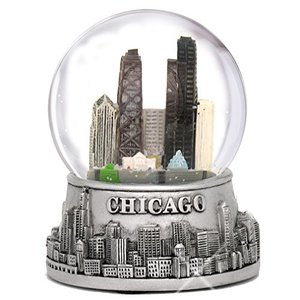 スノーグローブCity-Souvenirs 3.5 Inch Chicago Snow Globe, Silver Base and Color Inside Glass Globe, Chicago Snow Globes wit|planetdream