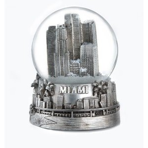 スノーグローブZizo Miami Florida Silver Snow Globe 65mm|planetdream