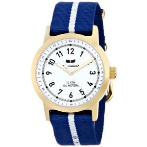 当店1年保証 ベスタルVestal Men's ABZ3C05 Alpha Bravo Zulu Gold-Tone Stainless Steel Watch with Blue and White Nylon Ban planetdream