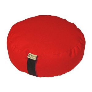 ヨガBean Products RED - Oval Zafu Meditation Cushion - Yoga - 10oz Cotton - Organic Buckwheat Fill - Made in USA