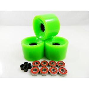 ベアリングBig Boy 70mm Gel Solid Skateboard Wheels + ABEC 7 Bearings Spacers (Solid Green)|planetdream