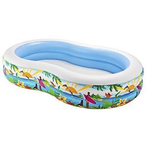 プールIntex Swim Center Paradise Inflatable Pool, 103in X 63in X 18in, for Ages 3+ planetdream