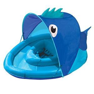 フロートSwimSchool Blue Fun Fish Fabric Baby Pool Float, Splash & Play Activity Center with Retractable Canopy, Baby Boat with|planetdream