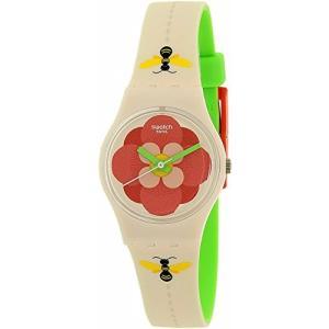 当店1年保証 スウォッチSwatch Women's Lady LM140 Beige Silicone Swiss Quartz Watch|planetdream