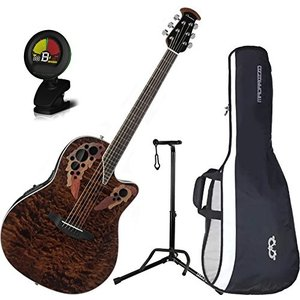 オベーションOvation CE44P-TGE Celebrity Elite Plus Mid-Depth Tiger Eye A/E Guitar with Gig Bag, Stand, and Tuner|planetdream