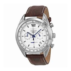 当店1年保証 セイコーSeiko Chronograph White Dial Stainless Steel Brown Leather Mens Watch SSB095|planetdream
