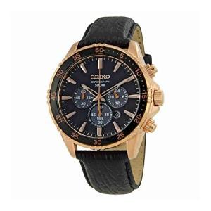当店1年保証 セイコーSeiko Men's 'Chronograph' Quartz Gold and Black Leather Dress Watch (Model: SSC448) planetdream