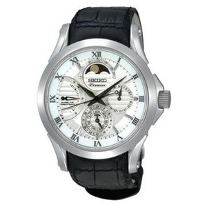 当店1年保証 セイコーSeiko SRX003 Mens Premier Kinetic Direct Drive Moonphase White Dial Black Leather Watch|planetdream