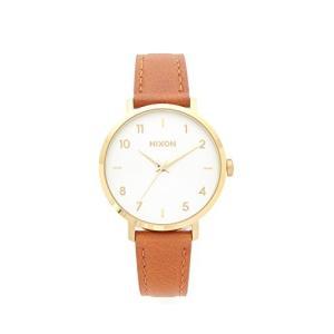 当店1年保証 ニクソンNIXON Arrow Leather A1095 - Gold/White/Saddle - 54M Water Resistant Women's Analog Classic Watch (3|planetdream