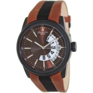 当店1年保証 ケネスコール・ニューヨークKenneth Cole Men's KC1764 Two-Tone Leather Quartz Watch with Brown Dial|planetdream
