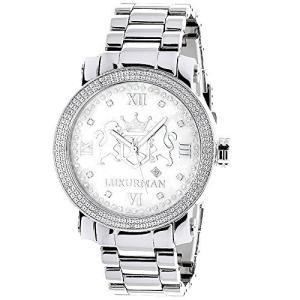 当店1年保証 ラックスマンLarge Mens Diamond Watch White MOP LUXURMAN Phantom with Stainless Steel Band 0.12ct|planetdream