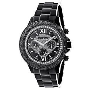 当店1年保証 ラックスマンMens Black Diamond Watch 0.20ctw of Diamonds by Luxurman Black Steel Band|planetdream