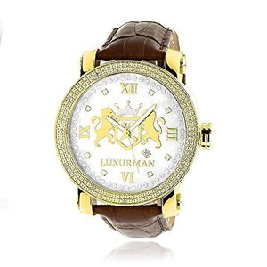 当店1年保証 ラックスマンMens Large 18k Yellow Gold Plated Diamond Watch Phantom White MOP Leather Band 0.12ctw by Lux|planetdream