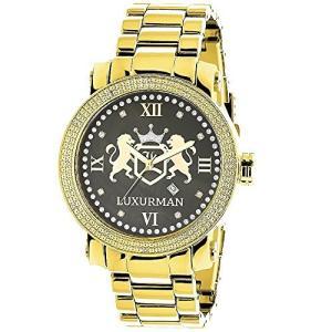当店1年保証 ラックスマンPhantom Mens Diamond Watch Yello Gold Plated with Black MOP 0.12ct by LUXURMAN|planetdream