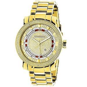 当店1年保証 ラックスマンUnique Large Mens Diamond Watch 18k Yellow Gold Plated by 0.12ctw of Diamonds by Luxurman|planetdream