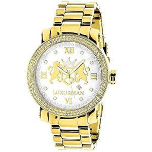 当店1年保証 ラックスマンYellow Gold Plated Diamond Watch for Men by LUXURMAN Phantom 0.12ct|planetdream