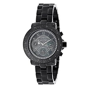 ラックスマンMens Ladies Diamond Watches: LUXURMAN Black Diamond Watch