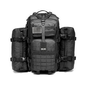 ミリタリーバックパックMilitary Tactical Backpack Waterproof Outdoor Gear for Camping Hiking,Black + 2 Detachable packs|planetdream