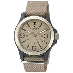 当店1年保証 ビクトリノックスVictorinox Men's 241516 Original Analog Display Swiss Quartz Beige Watch|planetdream